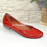 Балетки женские лаковые красного цвета на низком ходу. 38 размер