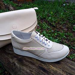 Стильные кожаные кроссовки женские на шнуровке, цвет бежевый