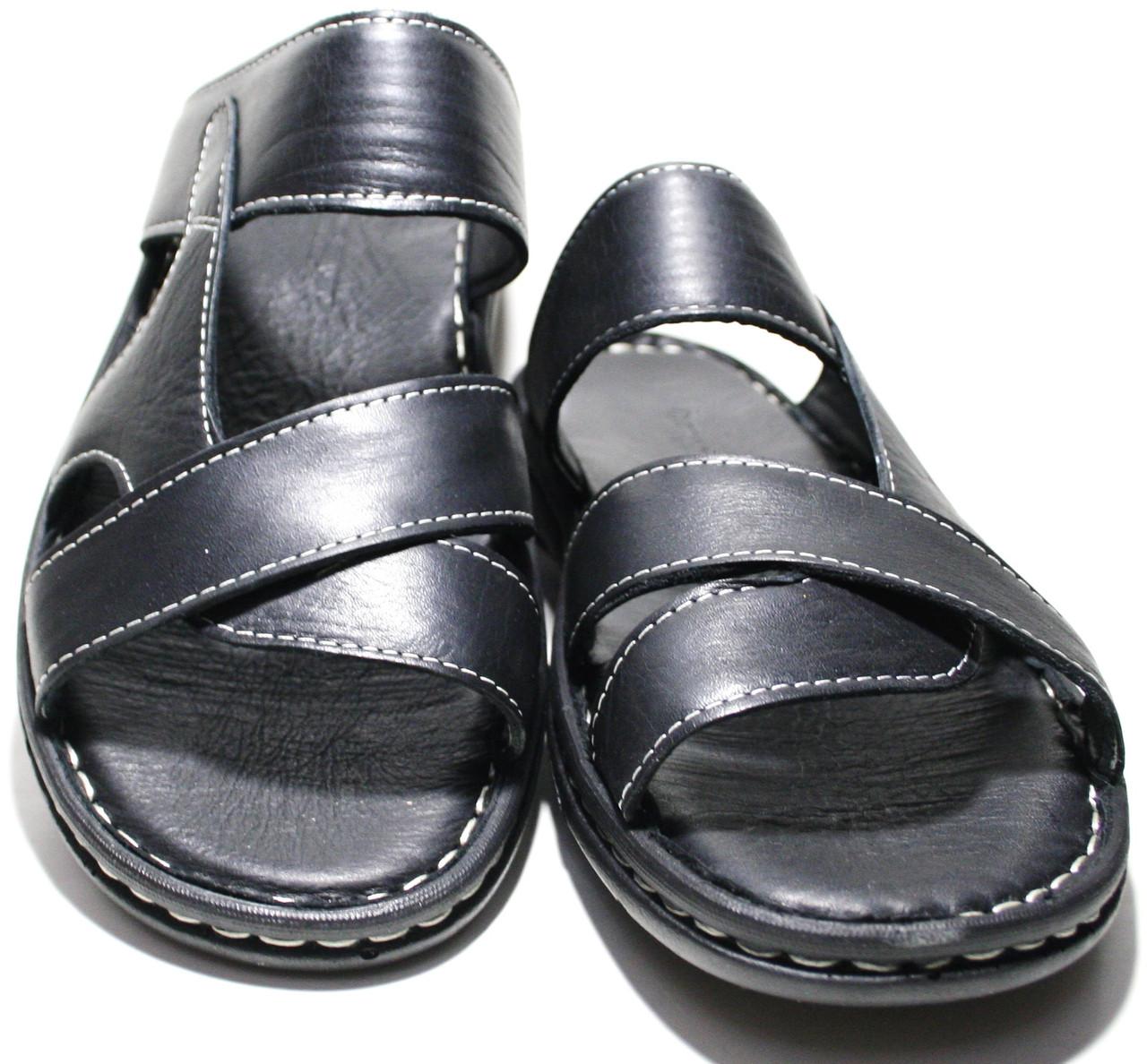 Сандали мужские кожаные, черные Pandew