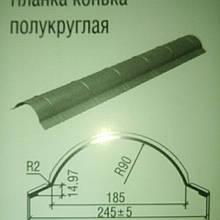 Планка конька полукруглая Термастил 0,45 мм Италия РЕ МАТ 35 мк.