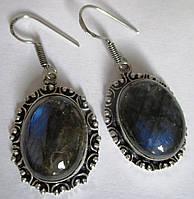 """Овальные серьги """"Синие"""" с лабрадорами от студии LadyStyle.Biz, фото 1"""