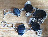 """Серебряной браслет с соколиным глазом """"Черный лебедь"""" от LadyStyle.Biz, фото 1"""