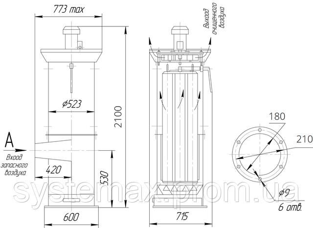Чертеж: пылеулавливающий агрегат ЗИЛ-1600М