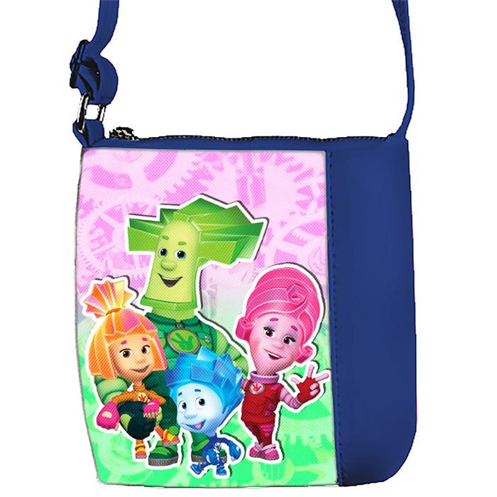 Синяя сумочка для девочки с принтом Фиксики