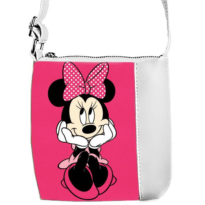 Белая сумочка с принтом Минни Маус