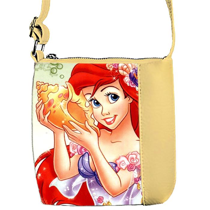 Бежевая сумочка для девочки с принтом Ариель