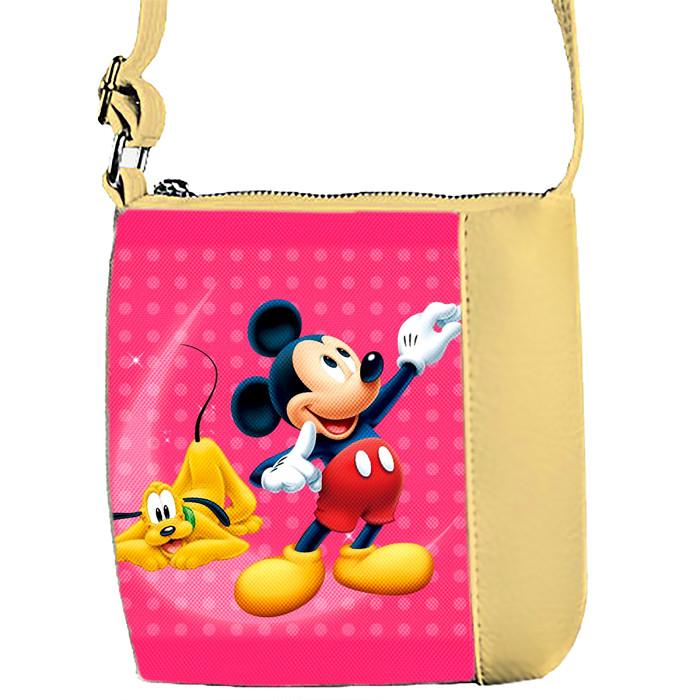 Бежевая сумочка с принтом Микки Маус