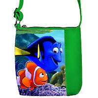 Зеленая сумочка с принтом Немо