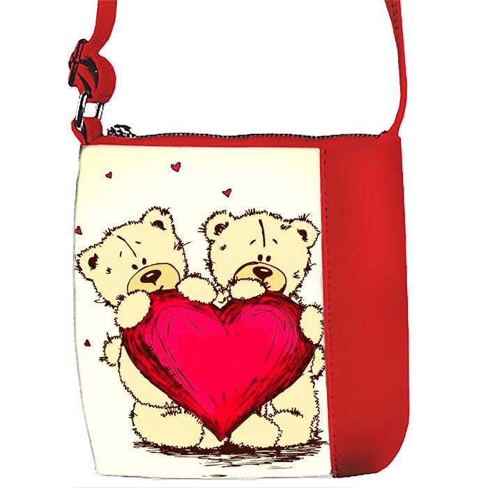 Красная сумочка с принтом Мишки Тедди