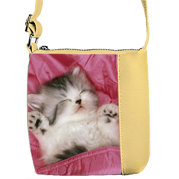 Бежевая сумочка с принтом Котенок