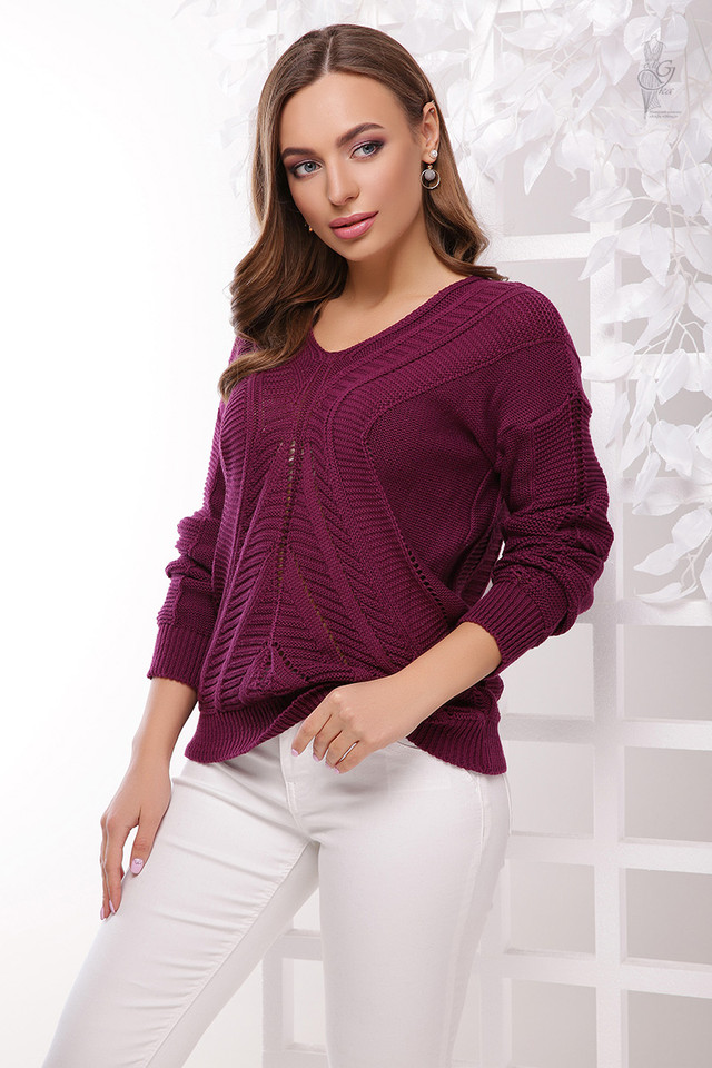 Цвет баклажан Вязаного женского свитера Влада