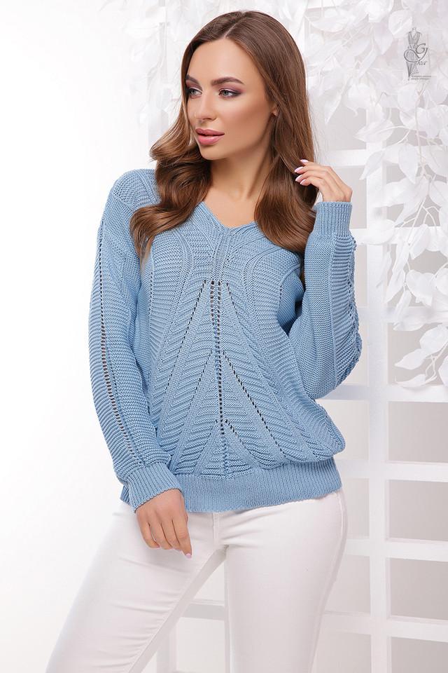 Цвет голубой Вязаного женского свитера Влада