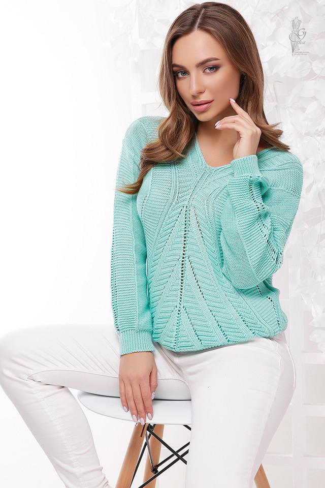 Цвет мята Вязаного женского свитера Влада