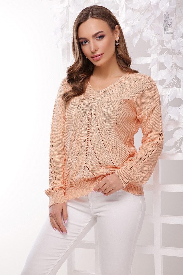 Фото Вязаного женского свитера Влада-8 из хлопка