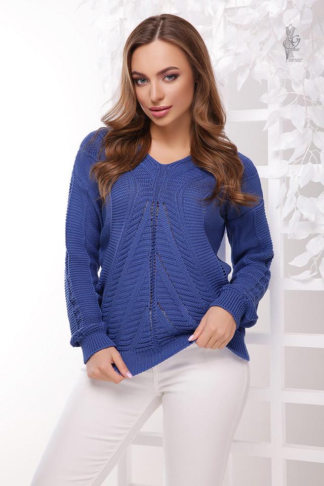 Цвет синий Вязаного женского свитера Влада