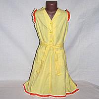 Желтое платье с оранжевой оборкой на 10-11 лет