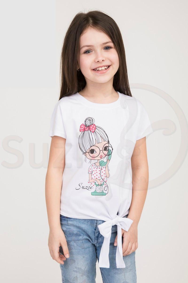 Белая футболка для девочки с рисунком, рост от 116 до 134
