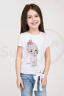 Стильная футболка для девочки, белая с рисунком, рост от 116 до 134