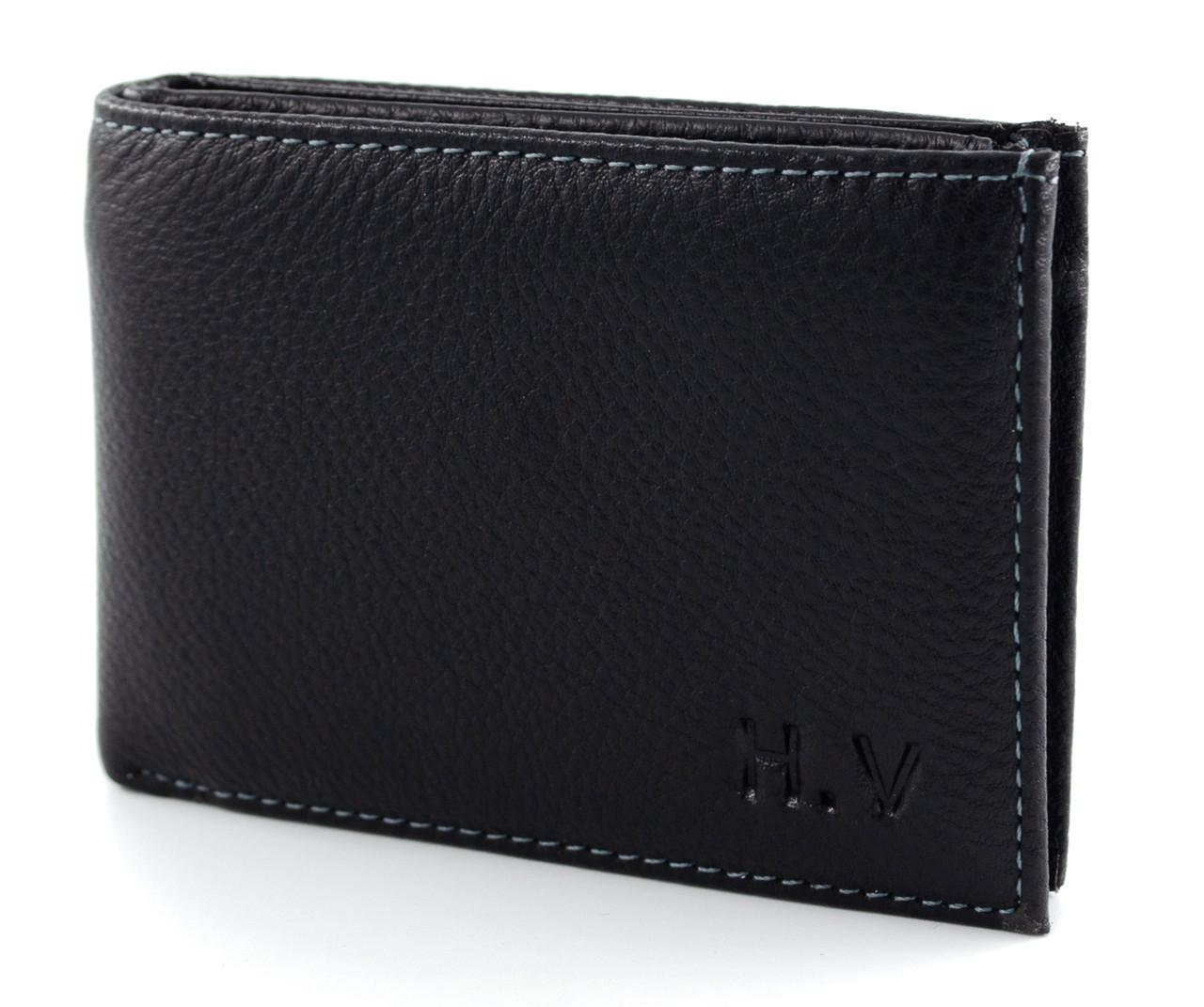 Стильный горизонтальный кожаный мужской портмоне с зажимом в черном цвете H.verde Верде (070)