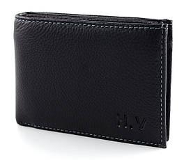 Стильний горизонтальний шкіряний чоловічий портмоне з затиском в чорному кольорі H. verde Верде (070)