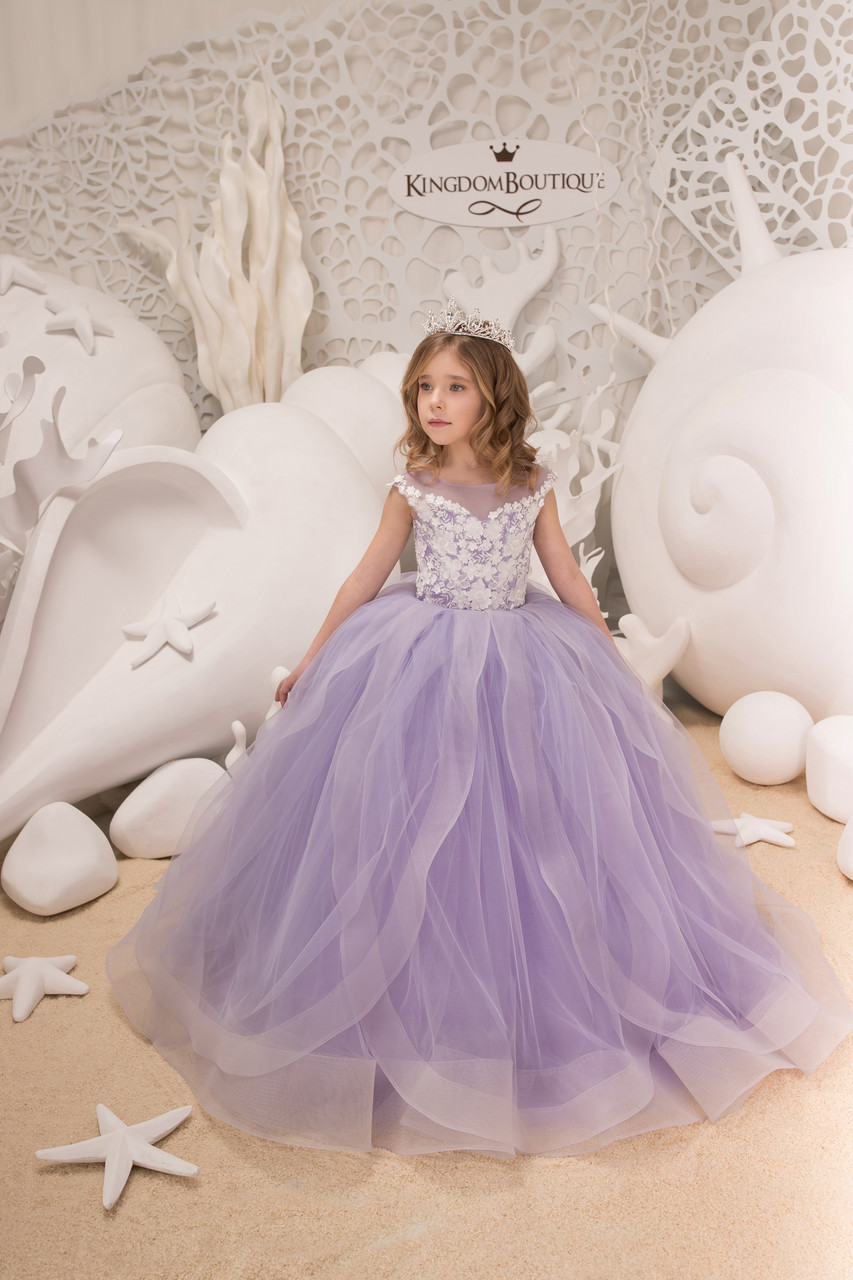 07ef6cf43cb8dfa Шикарное детское вечернее длинное платье нежно сиреневого цвета. Пышный  низ. Лиф с отделкой -