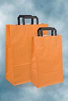 Цветной крафт пакет с плоскими ручками, крафтовая бумага 220х105х360 мм