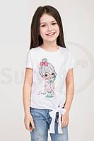 Белая футболка для девочки, с рисунком, рост от 116 до 134