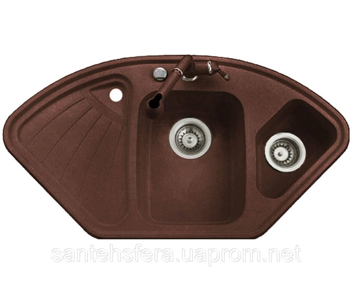 Гранитная кухонная мойка ADAMANT CONSENSUS 1060X575X190 коричневая