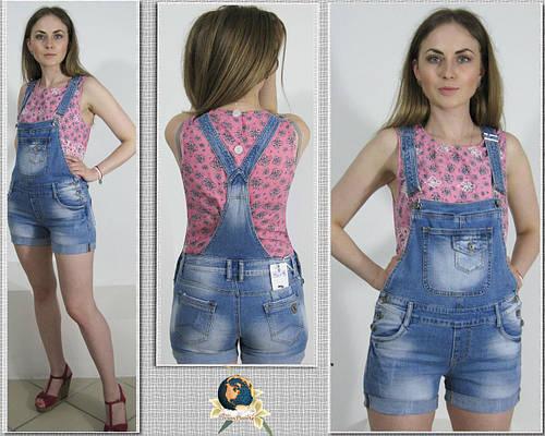 Модный джинсовый женский комбинезон-шорты голубого цвета
