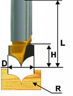 Фреза пазовая фасонная ф19х16, r10, хв.12мм (арт.10639)