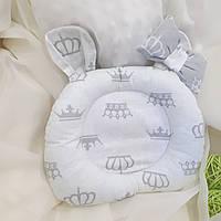 """Ортопедическая подушка """"Короны"""" для новорожденных двусторонняя, фото 1"""