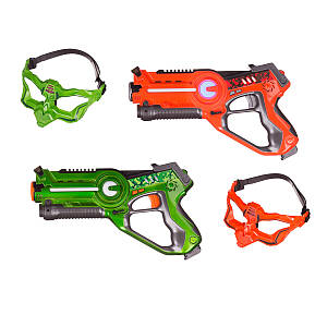 Интерактивный пистолет бластер для игры лазертаг UFT LASER TAG GUN + MASK (red+green)