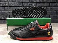 Кроссовки мужские в стиле Puma Roma код товара Z-1314. Черные с красным