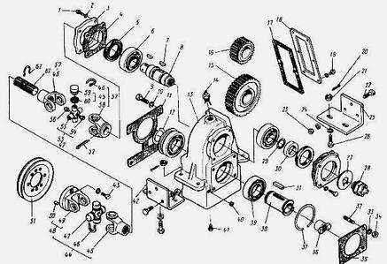 Привод гидравлических насосов львовского погрузчика АП-4014 с двигателем ГАЗ-52
