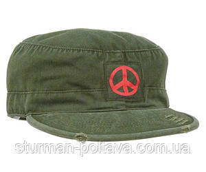 Кепка винтажная  мир VINTAGE OLIVE DRAB W/RED ''PEACE'' FATIGUE CAP