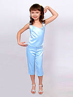 """Костюм детский для девочки летний капри с топом  М -637 рост 158 голубой тм """"Попелюшка"""""""