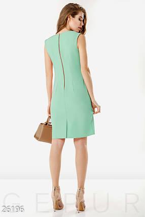 Офисное летнее платье до колен с разрезом и молнией приталенное мятное, фото 2