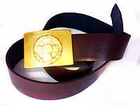 Ремень солдатский кожаный с пряжкой (бляха) латунной Нацгвардия маленькая