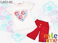 Костюм  для девочки шорты и футболка р.110,122 SmileTime Flower Heart, красный
