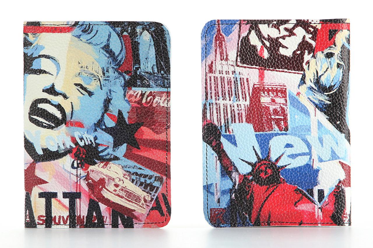 Кожаная обложка на паспорт Нью Йорк