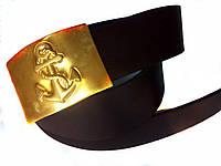 Ремень солдатский кожаный с пряжкой (бляха) латунной Якорь канат