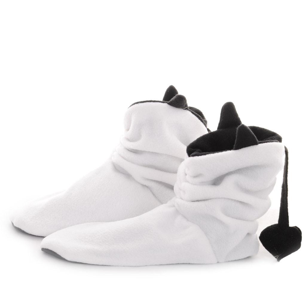 Тапочки Чертики белые с черными рожками