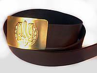 Ремень солдатский кожаный с пряжкой (бляха) латунной Тризуб