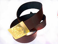 Ремень кожаный с пряжкой (бляха) латунной ДМБ хрест