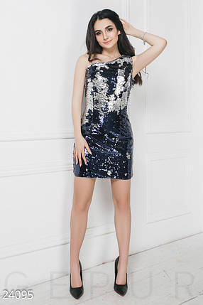 Модное платье мини на одно плечо облегающее из двухсторонней пайетки серебро синее, фото 2