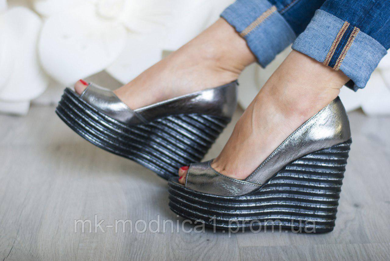 Туфли Кожа темное серебро   с открытым носком