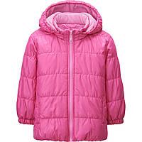 Зимняя куртка на девочку Uniqlo toddler warm lite jacket PINK