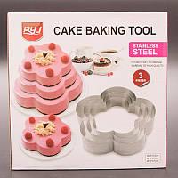 """Кольцо для выпечки """"Цветок"""",  резак для торта, нержавеющая сталь, 3 шт в наборе, фото 1"""