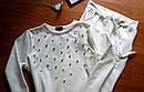Потрясный женский спортивный костюм с жемчугом бусинками на весну/осень ткань трикотаж М-ка белый молочный, фото 5