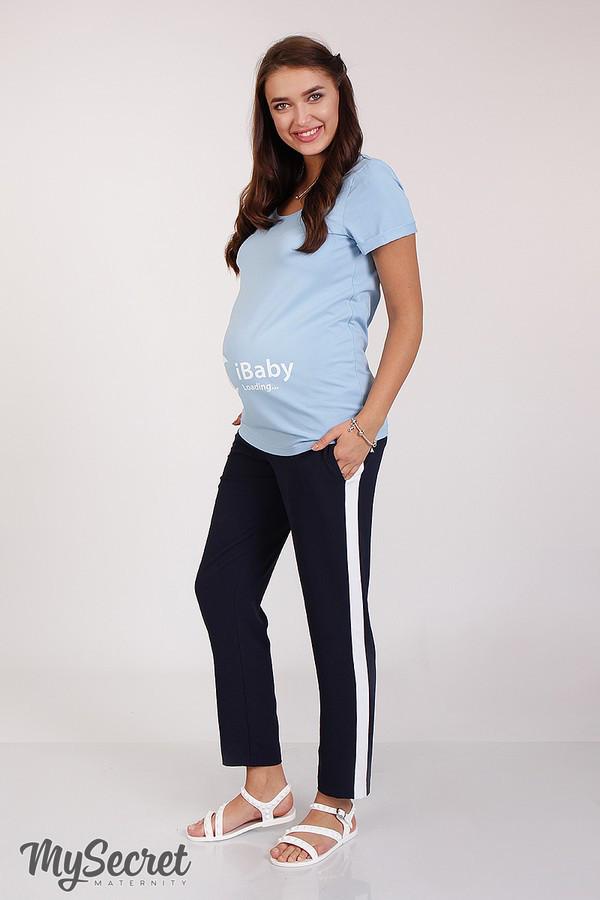 Брюки для беременных CRAYON LIGHT темно-синие с лампасами, одежда ... adc27c22f79